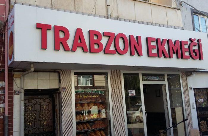 Trabzon ekmek fırını kutu harf tabela