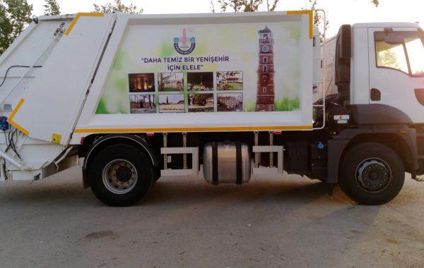 Yenişehir Belediyesi Çöp Kamyonu Folyo uygulama işi