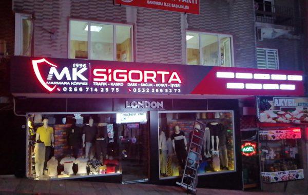 Mk sigorta Kompozit üzeri kutu harf tabela